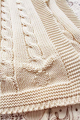 Wallaboo Coperta ultra morbida per bambini Noa, puro 100% cotone bio, Dimensione 90 x 70 cm, lavorata a maglia, per lettino, Colore: Ecru
