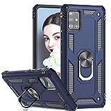 LeYi per Cover Samsung Galaxy A71 4G, Custodia Silicone TPU Antiurto Protettivo, 360°Rotante Anello Magnetica Supporto Difesa Militare Case Bumper Custodie per Originale Samsung Galaxy A71 Blu
