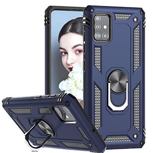 LeYi Funda Samsung Galaxy A71,Armor Carcasa con 360 Grados Anillo iman Soporte Hard PC y Silicona TPU Bumper Antigolpes Case para Movil A71,Azul