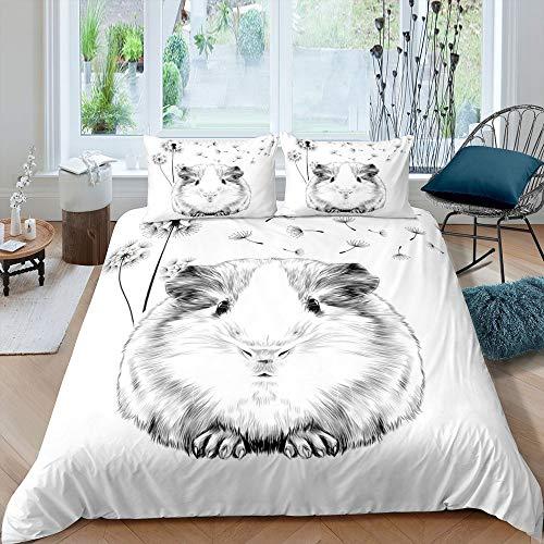 Homewish Meerschweinchen Bettbezug Löwenzahn Bettwäsche Set 220x240 Karikatur Meerschweinchen Bettbezug für Kinder Niedliche Tier Pflanze Trösterbezug, Grau Weiß Tagesdecke Schlafzimmer Dekor