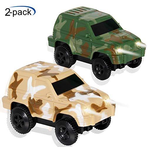 ACTRINIC Autorennbahn Spielzeug Rennwagen Blinklicht Spielzeug Floureszierende Renn Strecke Zubehör Kompatibel mit den meisten Strecke für Kinder Mini Camouflage Track Autospielset(2er-Pack)