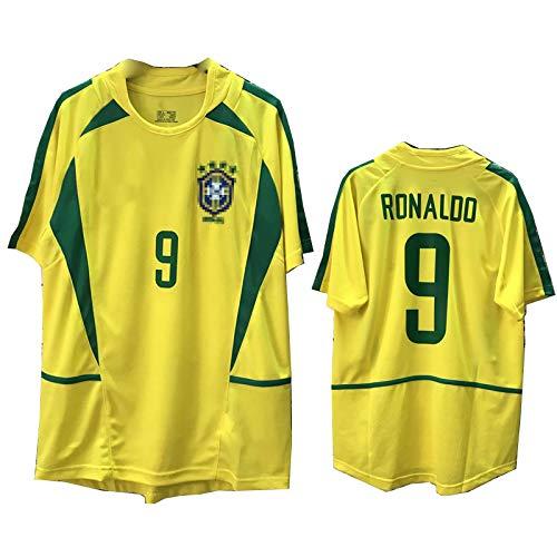 MFFZHJ Jersey de fútbol Retro 2002 Adecuado para Brasil Home Ronaldo Ronaldinho Kaká Soccer Jersey, Número y Nombre Personalizados, Camiseta de la Ropa Deportiva de fútbol Ronaldo-XL
