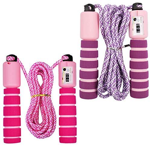 Cuerda para Saltar Ajustable Saltar la Cuerda de Fitness y Mango de Espuma con Contando Cuerda de Salto para Niños Niña Mujer Entrenamiento, Juego Escolar, Actividad al Aire Libre (Morado+Rosa)
