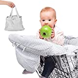 DYHQQ Funda para Carrito de la Compra 2 en 1 y Funda para Trona para bebé, tamaño Grande con portavasos, Almacenamiento para teléfono móvil, Idea de Regalo para la Ducha