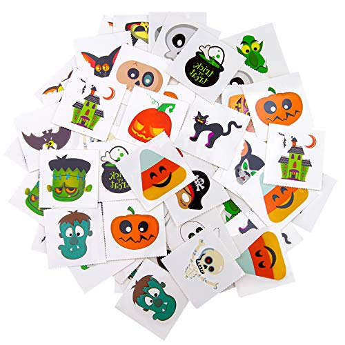ADXCO 96 Pieces Assorted Halloween Tattoos Halloween Tattoos Stickers for Halloween Trick or Treat Gifts Candy Bag or Party Decoration