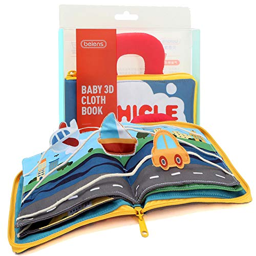 Felt Quiet Books - 9 kinds Vehicle Identify Skill Boys and Girls, Ultra Soft Baby book Touch and feel Cloth Book, 3D Books Fabric Activity for Babies /Toddlers, Learning to Sensory Book、Busy Book