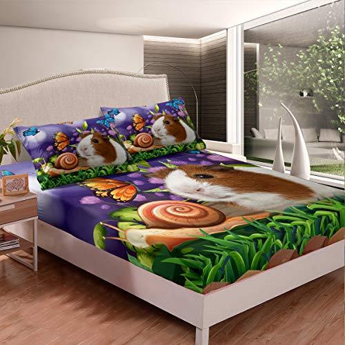 Marsvin lakan set söt gros fjäril sniglar sängkläder set för barn pojkar flickor barn botaniskt blommigt dra-på-lakan ultramjuk dekor tecknad härlig djur sängöverkast en storlek