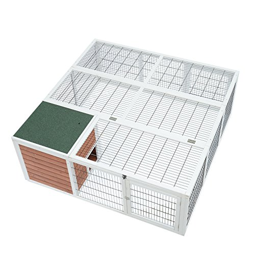 PawHut 64' Wooden Outdoor Rabbit Hutch Playpen with Run and Enclosed Cover
