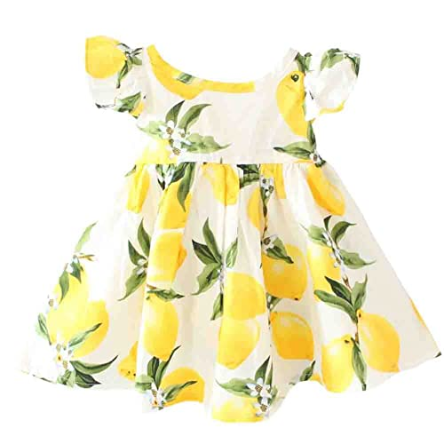 0de4e76bb0e Baby Girls Dress Lemon Floral Sleeveless Sundress Infant Princess Summer  Vest Dress