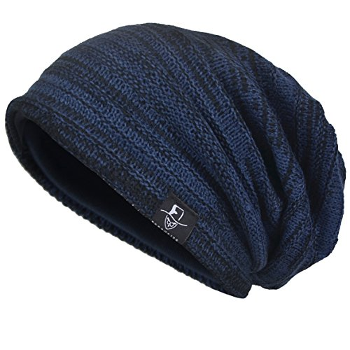 VECRY Men's Cool Cotton Beanie Slouch Skull Cap Long Baggy Hip-hop Winter Summer Hat (Twill-Navy)