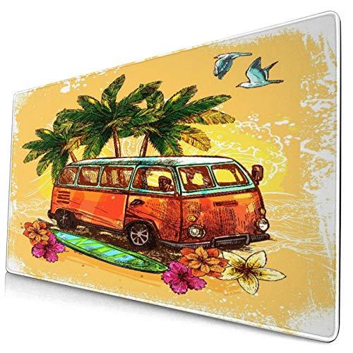 Extra Grande Juego de Azar Alfombrilla de Ratón con Bordes Cosidos,Surf Hippie Clásico Viejo autobús con Tabla de Surf Libertad Vaca,Antideslizante Base de Goma Ordenador Teclado Tapete,29.5' x 15.8'