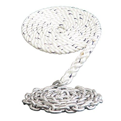 """Dark Horse Marine Windlass Anchor Rode- 1/2"""" 3 Strand Nylon Splice to 15' - 1/4"""" Galvanized Chain (150')"""