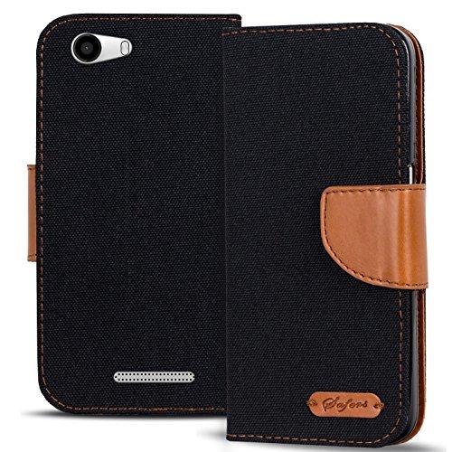 Verco Ridge Fab 4G Hülle, Schutzhülle für Wiko Ridge Fab Tasche Denim Textil Book Case Flip Case - Klapphülle Schwarz