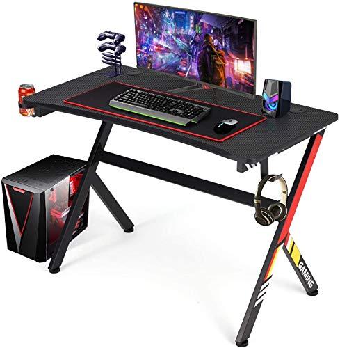 YODOLLA Gaming-Schreibtisch, 115 cm x 58 cm, Gaming-Tisch mit Mauspad, Becherhalter und Kopfhörer-Haken, Gamer-Workstation, Spieltisch, rot