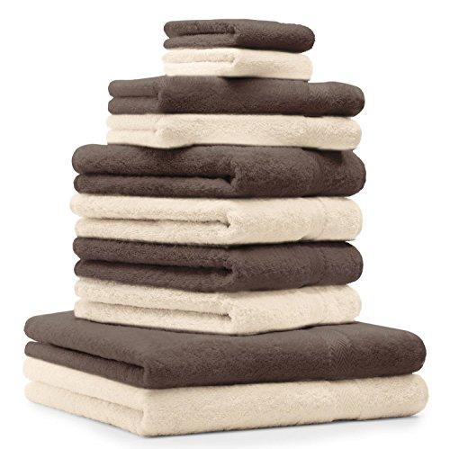 Betz 10-TLG. Handtuch-Set Premium 100% Baumwolle 2 Duschtücher 4 Handtücher 2 Gästetücher 2 Waschhandschuhe Farbe Nuss Braun & Beige