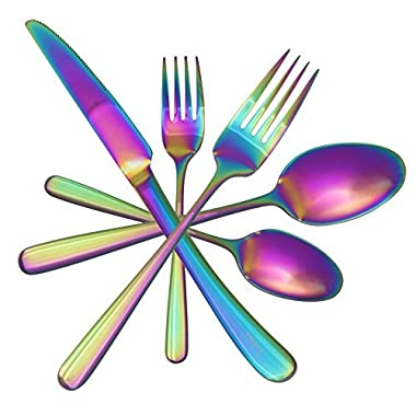 Beautiful and Unique Flatware Set - 20 Piece by Kadina | Iridescent Silverware Sets | Stainless Steel Dinnerware Set | Utensils For 4 | Rainbow Tableware with Dessert Fork, Knife, Spoon, Dinner Fork