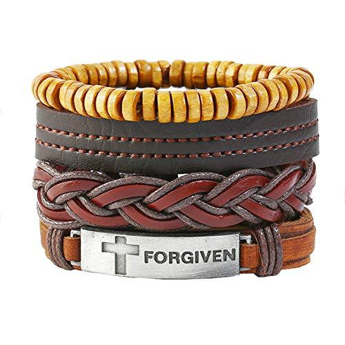 Beydodo 4 Stück Leder Armbänder für Herren Kreuz Forgiven Geflochtene Armbänder Freundschaftsarmband Armband Männer