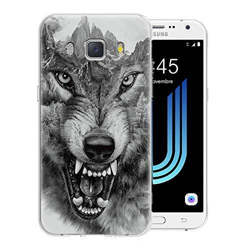 Pnakqil Funda Samsung Galaxy J7 2016, Silicona Transparente con Dibujos Diseño Slim Suave TPU Antigolpes Ultrafina de Protector Piel Case Cover Cárcasa Fundas para Samsung GalaxyJ7, Lobo 01