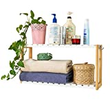 SoBuy FRG27-WN,Estantería de Pared, estantería de baño, librería, estantería de Cocina de bambú, Color: Natural/Blanco
