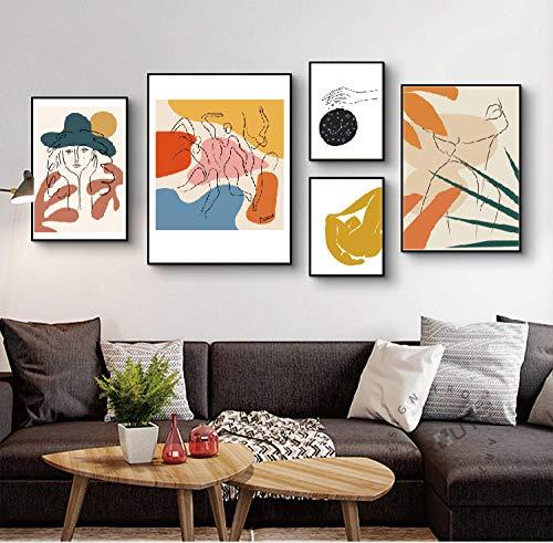 XIXISA 5Pcs Picasso Modern Minimalist Art Malerei Druck und Bunte abstrakte Kunstdruck, Modern Minimalist Kunst Malerei Druck, Skandinavien No Frame