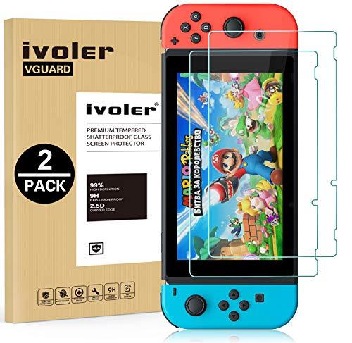 ivoler [2 Stücke] Panzerglas Schutzfolie für Nintendo Switch, [9H Härte] [Anti- Kratzer] [Bläschenfrei] [2.5D Runde Kante]