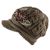 Morehats Flower Crochet Metallic Knit Beanie Cap Warm Winter Ski Hat - Chocolate