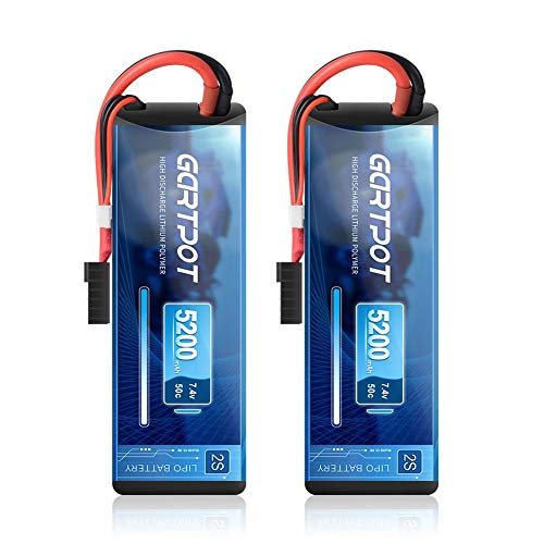 GARTPOT 5200mAh 2S 7.4V 50C LiPo RC Battery Hard Case with TRX Plug for for RC Truck RC Truggy RC Heli Airplane Drone FPV Racing (2 Pack)