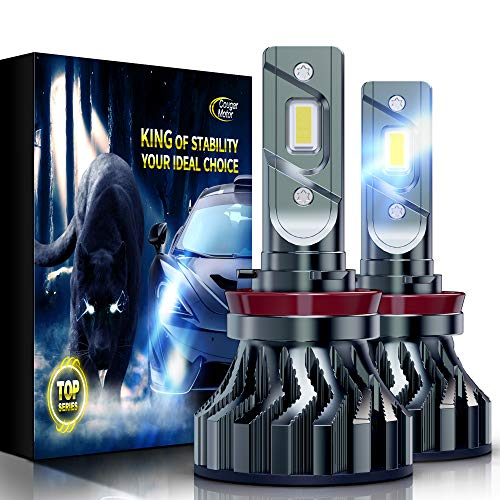 Cougar Motor Flagship H11 (H8, H9) LED Bulbs, Super Bright 12000LM 6500K Conversion Kit - Cool White, Super Bright Halogen Replacement