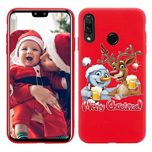 Yoedge Funda para Huawei Y9 Prime 2019, Cárcasa Silicona Rojo Navidad con Dibujos Nieve Ciervo de Diseño Antigolpes Case Bumper Fundas para Huawei Y9 Prime 2019 Smartphone. (Ciervo 2)