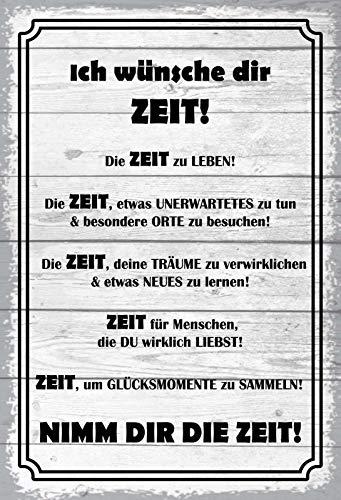 FS Spruch Ich wünsche dir Zeit graues Blechschild Schild gewölbt Metal Sign 20 x 30 cm