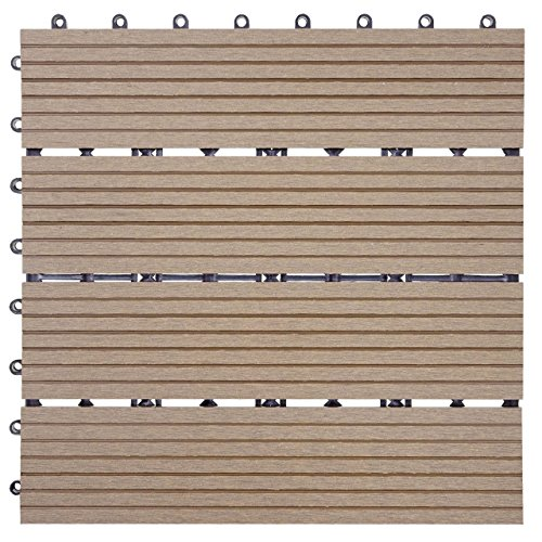 Mendler WPC Bodenfliese Rhone, Holzoptik Balkon/Terrasse, 11x je 30x30cm = 1qm linear - Basis, Teak