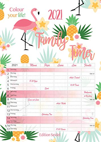 Familienplaner XL Familienkalender Familientimer Family Timer 2021 DIN A3 Wandkalender Kalender Familie 5 Spalten (Flamingo)
