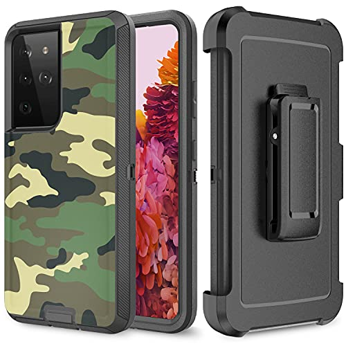 Szfirstey Case with Belt-Clip Holster for Galaxy S21 Ultra ,Full Body Rugged Shock Dust Proof 3-Layer Military Protective Tough Phone Cover Heavy Duty for Samsung Galaxy S21 Ultra ( Camouflage)