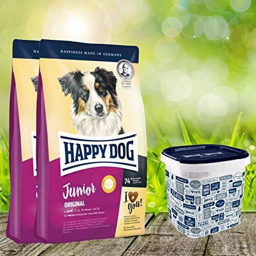Happy Dog 2 x 10 kg + Futtertonne 35 Liter Supreme Junior Original