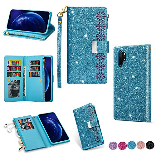 Miagon Reißverschluss Brieftasche Glitzer Hülle für Samsung Galaxy Note 10 Plus,Flip Handytasche mit 9 Kartenfächer Handschlaufe PU Leder Magnet Bling Multifunktions,Blau