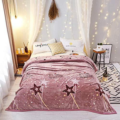 Manta de Sofá,Otoño/Invierno Falli Fleece Blanket Edge, Cloud Marten Blanket Coral Fleece, Thicken Blanket, Star Wish Bean Paste, 180X200CM