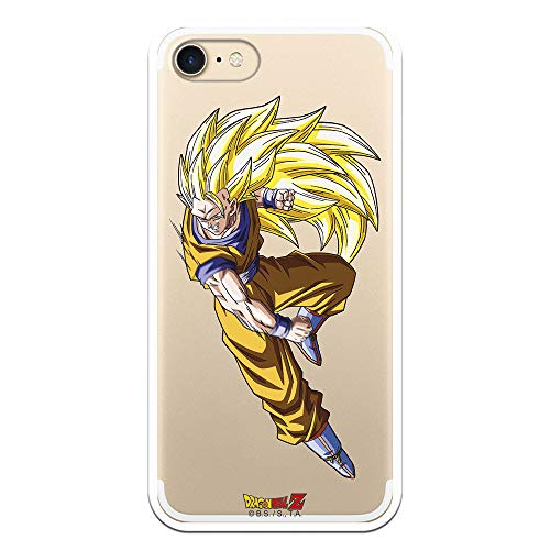 Funda para iPhone 7 - iPhone 8 - iPhone SE 2020 Oficial de Dragon Ball Goku Super Saiyan 3 para Proteger tu móvil. Carcasa para Apple de Silicona Flexible con Licencia Oficial de Dragon Ball.