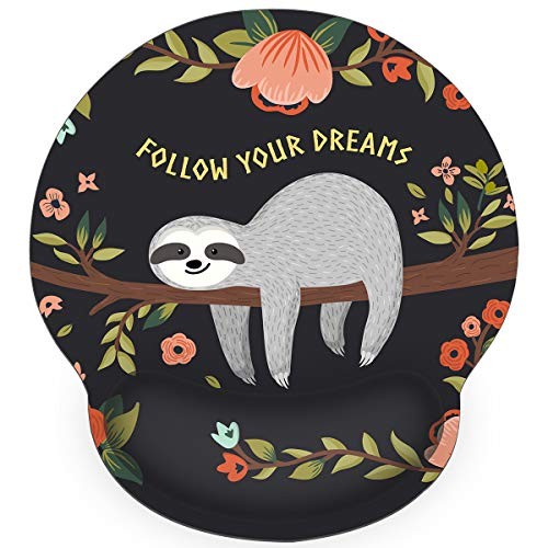 Britimes Ergonomic Mouse Pad with Wrist Support Black Cute Sloth Follow Your Dreams Non-Slip Rubber Base Mousepad for Home Office Gaming Working Computers Laptop Easy Typing & Pain Relief