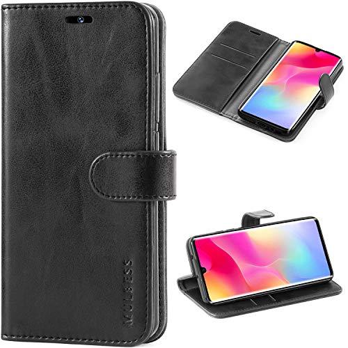 Mulbess Vintage Handyhülle für Xiaomi Mi Note 10 Lite Hülle Leder, Xiaomi Mi Note 10 Lite Handy Hüllen, Flip Handytasche Schutzhülle für Xiaomi Mi Note 10 Lite Hülle, Schwarz