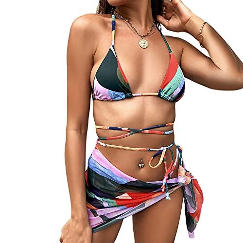 Traje de baño 3 piezas para mujer,Conjunto de Bikini Lateral Encaje con Honda Bloque Color con Falda Playa Que Cubre Tops y Bragas,Push Up Playa Bikini Sujetador Sets Bañador Ropa de Tres Piezas