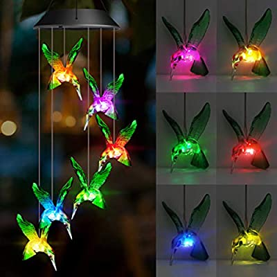 Solar Hummingbird Wind Chimes, Solar Wind Chimes 6 Hummingbird Outdoor Decor, Hanging Decorative Romantic Patio Lights for Yard Garden Home Party, Make a Great Birthday Gifts for Mom, Wife, Grandma