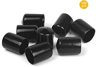 Carkio 14mm Screw Thread Protectors,100PCS Black PVC Flexible Round End Cap Rubber Cover Thread Tube Caps