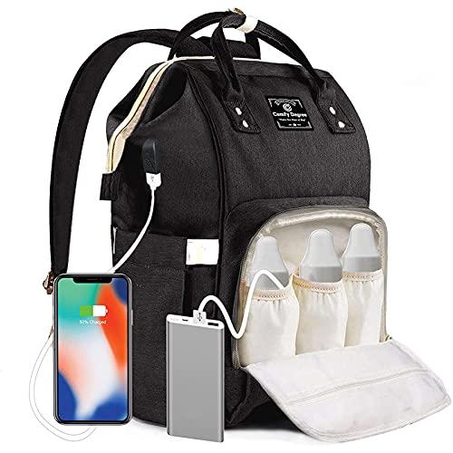 Baby Wickelrucksack Wickeltasche, Multifunktionale Wasserdichte Babytasche für Mama und Papa, Oxford Windelrucksack mit USB-Ladeanschluss, Kinderwagengurte, Wärmetaschen Reisetasche(pure-black)