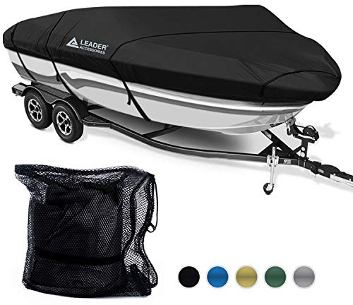 Leader Accessories 600D Polyester 5 Colors Waterproof Trailerable Runabout Boat Cover Fit V-Hull Tri-Hull Fishing Ski Pro-Style Bass Boats,Full Size (17'-19'L Beam Width up to 96'', Black)