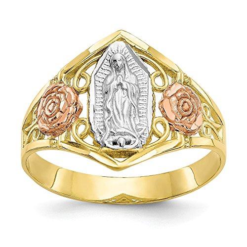 10K Amarillo & Blanco Oro en dos tonos Nuestra Señora de Guadalupe Virgen María Anillo (de 3a 15mm), Oro blanco y amarillo, 7.25, 749827855