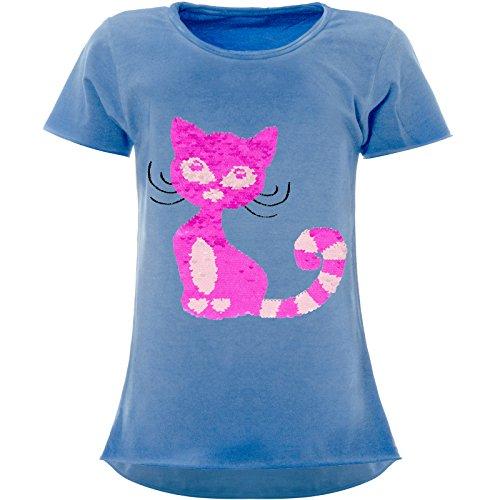 BEZLIT Mädchen Wende-Pailletten T-Shirt Katzen-Motiv Kurzarm 22492 Blau Größe 164