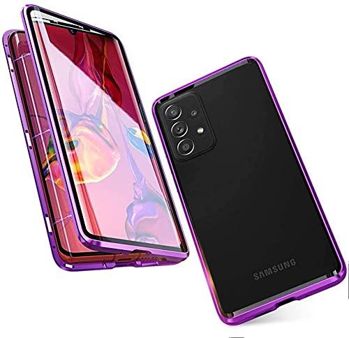 LIUKM Funda para Samsung Galaxy A32 5G Magnetica Adsorption Carcasa 360 Grados Protección Metal Choque Frente y Parte Posterior Vidrio Templado(Púrpura)