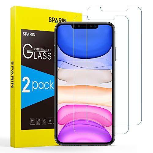 SPARIN [2-Pack Cristal Templado iPhone 11/XR, Protector Pantalla iPhone 11/XR Vidrio Templado con [Sin Cobertura Toda Pantalla] [9H Dureza] [Alta Definicion]