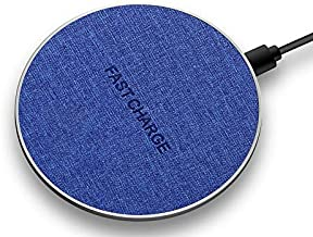 Austech Fabric Wireless Charger Qi-Certified 10W Max Fast Wireless Charging Compatible with iPhone 11/11 Pro/11 Pro Max/XS MAX/XR/XS/8Plus, Galaxy Note 10/Note 10 Plus/S10/S10 Plus/S10E (Blue)