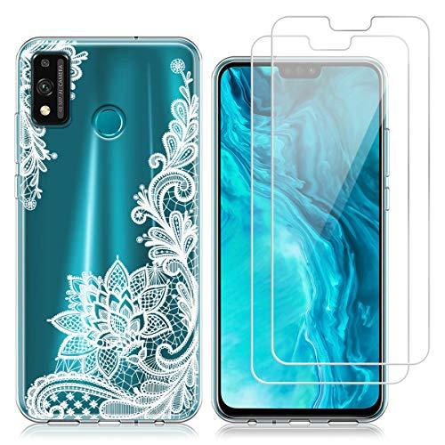 Hülle kompatibel mit Huawei Honor 9X Lite,Weich Transparent TPU Silikon Anti-Fall Handyhülle Schutzhülle mit Zwei Gehärtetes Glas Schutzfolie Bildschirmschutzfolie für Huawei Honor 9X Lite (6,5 Zoll)